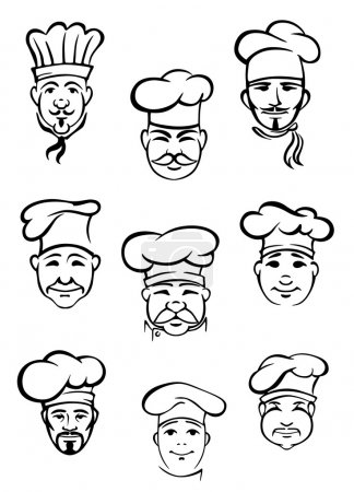 Collection of chefs in traditional toques