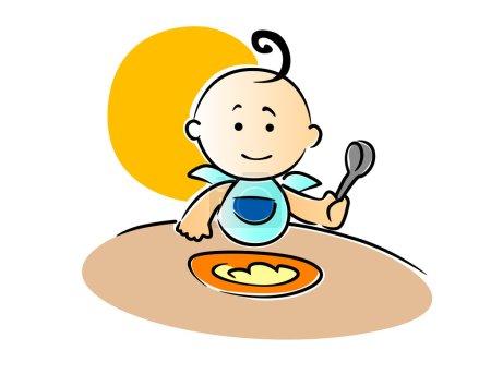 Illustration pour Mignon petit bébé portant un bavoir bleu avec une boucle sur le dessus de sa tête assis en train de manger sa nourriture tenant une cuillère dans son poing, illustration vectorielle - image libre de droit