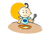 Cute little baby wearing a blue bib with a curl on top of its head sitting eating its food holding a spoon in its fist vector illustration