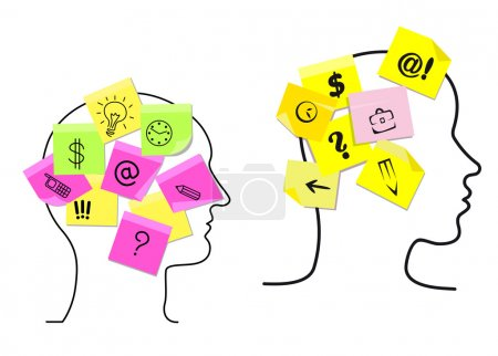 Illustration for Vector design with the outlines of the heads of a multitasking man and woman with colorful sticky memos stuck to them detailing a variety of different task icons for time management - Royalty Free Image