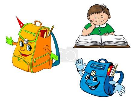 Garçon de cartoon coloré avec livre et Ecole sacs à dos