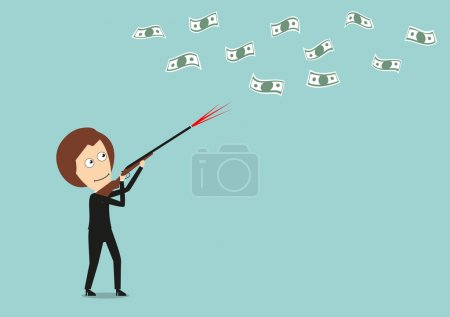 Business woman hunts for money with hunting rifle