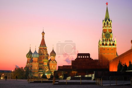 Photo for Cityscape with St. Basil Cathedral in Moscow at night - Royalty Free Image