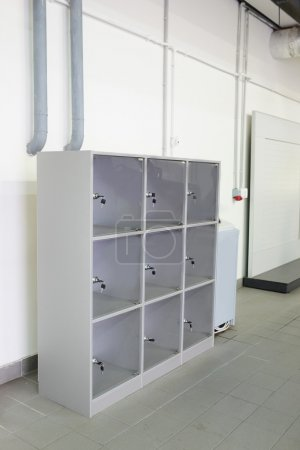 Photo for Grey luggage storage with cells in the service station - Royalty Free Image