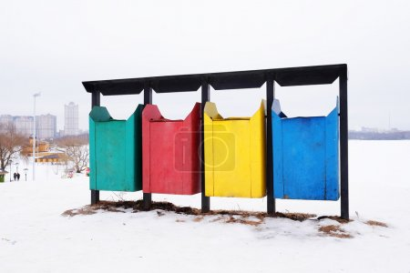 Different colored bins