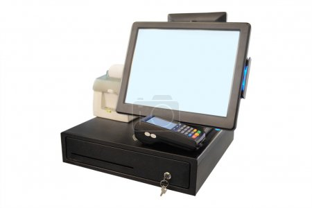 Photo pour Point of sale touch screen system with thermal printer and cash drawer - image libre de droit