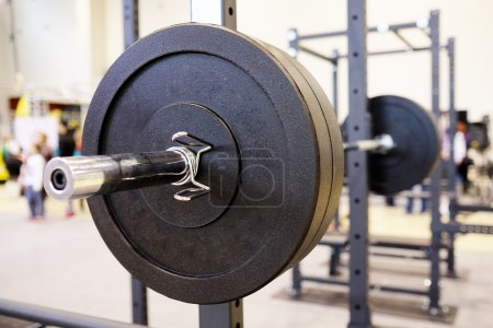 Barbell plates in gym