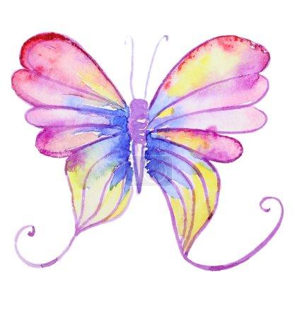 Photo pour Aquarelle abstraite papillon violet dessiné à la main. Peint à la main papillon aquarelle en Hires. Parfait pour les invitations de mariage, cartes de voeux, citations, articles, affiches et logo. - image libre de droit