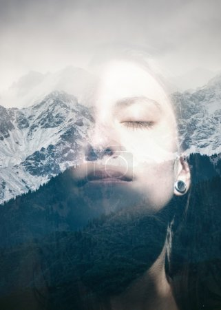 Woman combined with snowy mountains