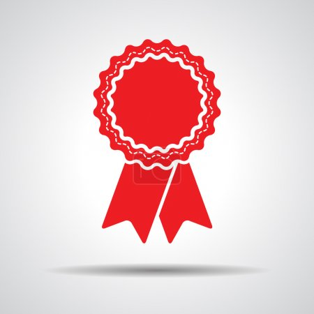 Illustration for Red badge with ribbons icon - vector illustration - Royalty Free Image