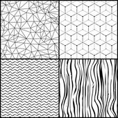 Set of different abstract triangle waves polygonal seamless patterns