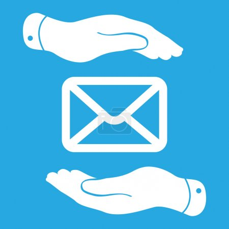 Two hands and message icon