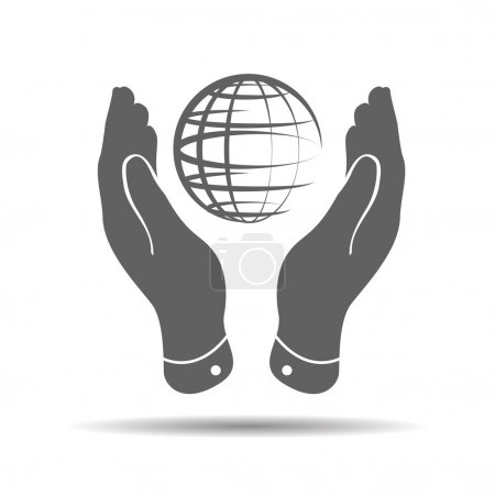 Illustration for Two hands take care of globe planet icon on a white background - Royalty Free Image