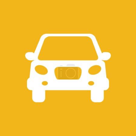 white flat car button icon