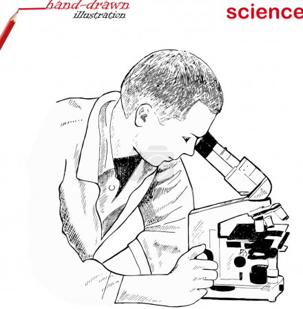 Illustration for Research scientist in lab coat looking into the microscope in laboratory - hand-drawn illustration - Royalty Free Image