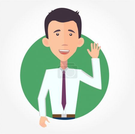 Illustration for Cheerful businessman waving hello - flat design vector - Royalty Free Image