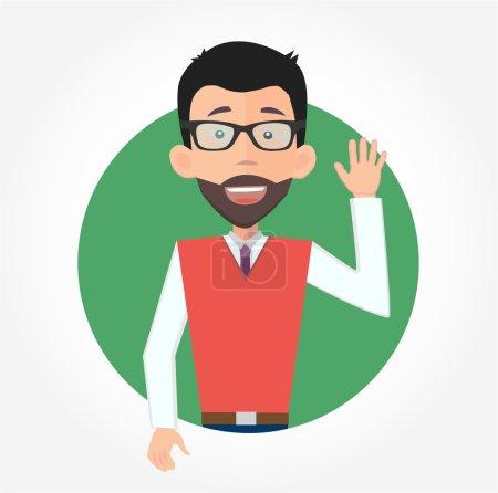 Businessman waving hello
