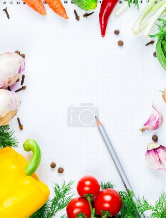 Photo for Beautiful background healthy organic eating. Studio photography the frame of different vegetables and mushrooms with a white sheet of paper on the old brown boards with free space - Royalty Free Image