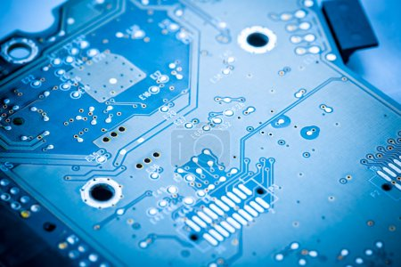Photo for Blue circuit board background of computer motherboard - Royalty Free Image