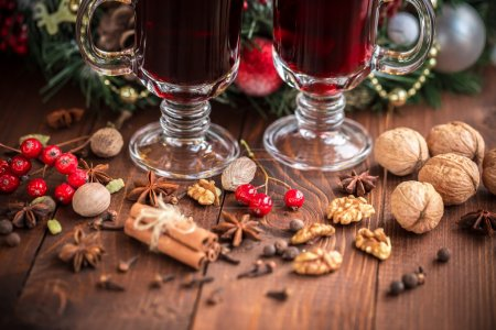 Christmas hot mulled wine with spices