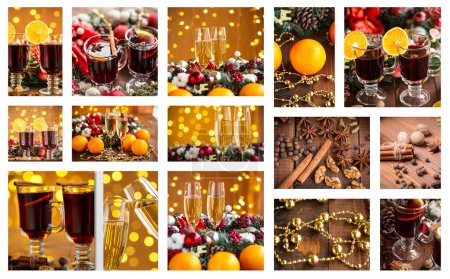 Photo for Christmas holiday collage with photos - Royalty Free Image