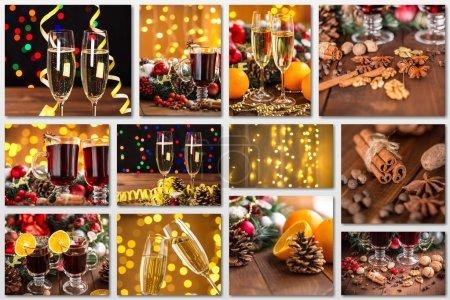 Photo pour Vacances de Noël collage avec des photos - image libre de droit