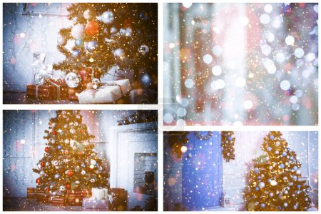 Photo for Christmas holiday festive collage background - Royalty Free Image