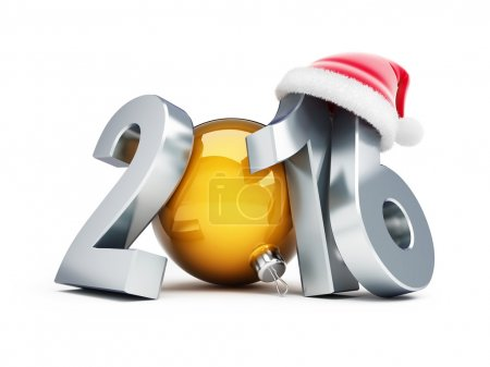 Photo for Happy new year 2016 santa hat 3d Illustrations on a white background - Royalty Free Image