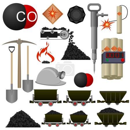 Illustration pour Ensemble de badges et de machines d'extraction de charbon. Illustration sur fond blanc . - image libre de droit