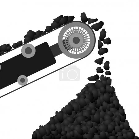 Conveyor belt with coal