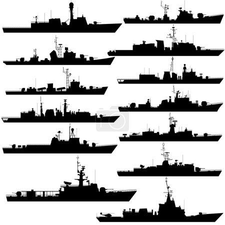 Illustration pour Les contours des navires de guerre, frégates et corvettes. Illustration sur fond blanc . - image libre de droit