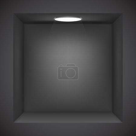 Illustration pour Mur noir avec niche vide pour l'exposition . - image libre de droit