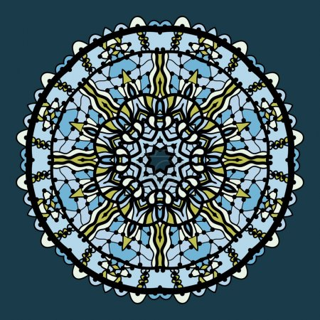Vector round arabesque mandala background in shades of blue color