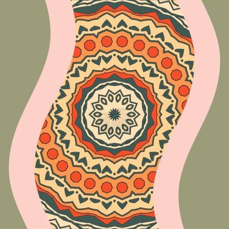 Multi Coloured Mandala Print. Round Ornamental Symmetry Pattern. Vintage decorative element. Hand drawn artwork. Islamic, Arabic, Persian, Indian, Ottoman motifs.