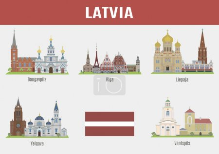 Famous Places cities of Latvia. Vector set of high...