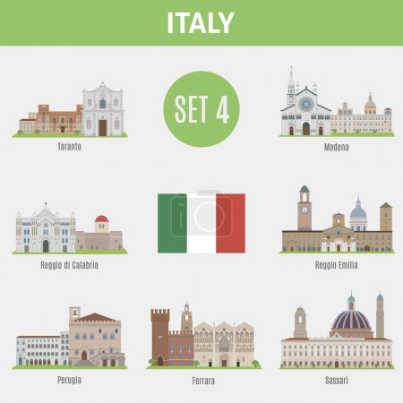 Famous Places Italy cities. Vector set of high-qua...