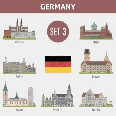 Photo pour Lieux célèbres villes en Allemagne. Wurzburg, Speyer, Aachen, Duisburg, Bochum, Wuppertal et Bielefeld. Set 3 - image libre de droit