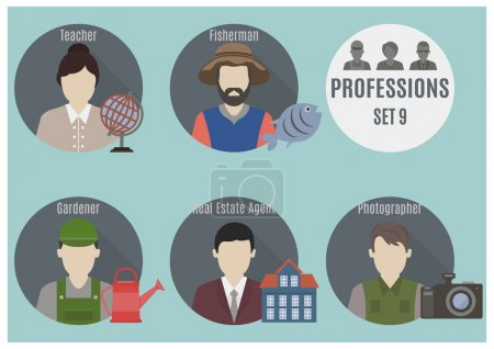 Photo for Profession people. Set 9. Flat style icons in circles - Royalty Free Image