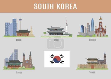 Photo pour Villes en Corée du Sud. Grandes villes coréennes lieux célèbres - image libre de droit
