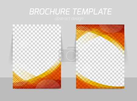 Illustration for Flyer template back and front design in red and orange colors - Royalty Free Image