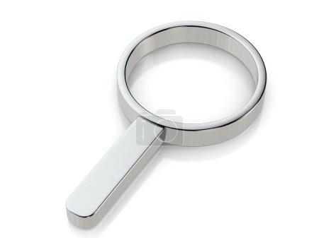 Metallic magnifier symbol