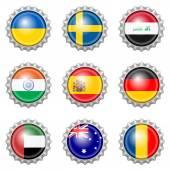 Bottle cap national flags