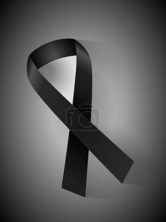Illustration for Mourning ribbon on a black white background. - Royalty Free Image