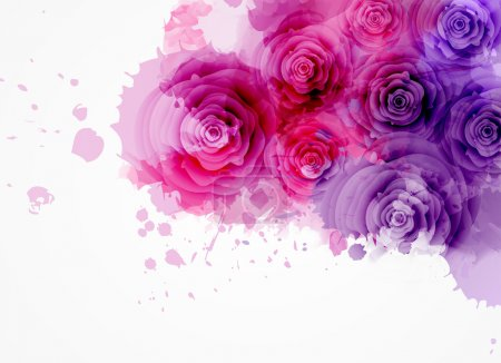 Illustration for Abstract watercolor background in purple and pink colors with roses - Royalty Free Image