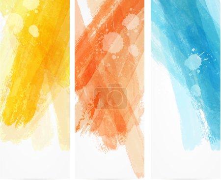 Illustration pour Modèles verticaux de bannière avec des lignes d'imitation aquarelle - image libre de droit
