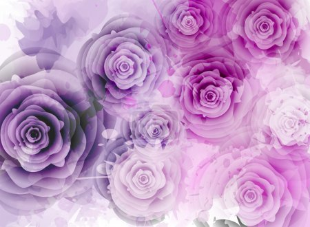 Illustration for Abstract background with roses and grunge splash elements - Royalty Free Image