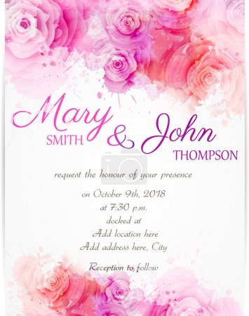 Illustration for Wedding invitation template with abstract roses on watercolor background - Royalty Free Image