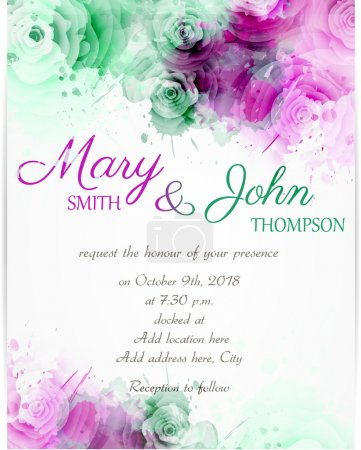 Illustration for Wedding invitation template with abstract florals on watercolor background - Royalty Free Image