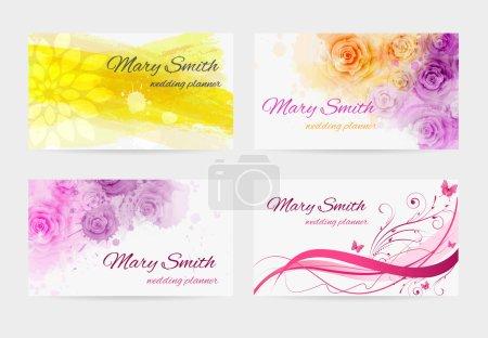 Illustration pour Ensemble de quatre modèles de cartes de visite pour planificateur de mariage - image libre de droit