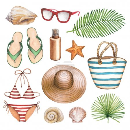 illustrations of beach accessories